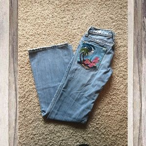 Miss Me Beach Embroidered Destroyed Boot Cut Jeans